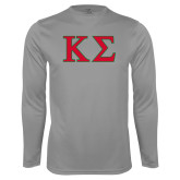 Performance Steel Longsleeve Shirt-Kappa Sigma - Greek Letters - 2 Color