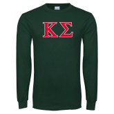 Dark Green Long Sleeve T Shirt-Kappa Sigma - Greek Letters - 2 Color