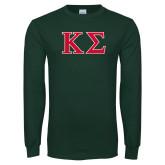 Dark Green Long Sleeve T Shirt-Kappa Sigma - Greek Letters - 2 Color