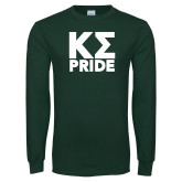 Dark Green Long Sleeve T Shirt-Kappa Sigma Pride