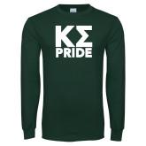 Dark Green Long Sleeve T Shirt-Kappa Sigma Pride