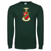 Dark Green Long Sleeve T Shirt-Crest