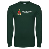 Dark Green Long Sleeve T Shirt-Kappa Sigma Fraternity w/ Crest
