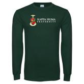 Dark Green Long Sleeve T Shirt-Kappa Sigma Fraternity w/ Crest