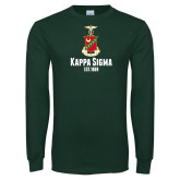 Dark Green Long Sleeve T Shirt-Kappa Sigma Est 1869 Stacked