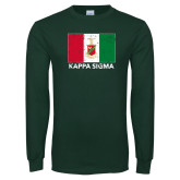 Dark Green Long Sleeve T Shirt-Distrssed Flag
