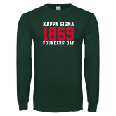 Dark Green Long Sleeve T Shirt-Founders Day - Jersey Type Stacked