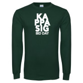 Dark Green Long Sleeve T Shirt-Kappa Sig Bid Day Stacked