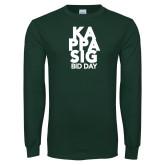 Dark Green Long Sleeve T Shirt-Kappa Sig Bid Day Stacked