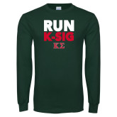Dark Green Long Sleeve T Shirt-Run K-Sig
