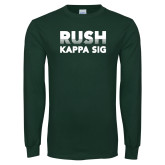 Dark Green Long Sleeve T Shirt-Rush Kappa Sig Retro