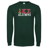Dark Green Long Sleeve T Shirt-Alumni Greek Letters Stacked