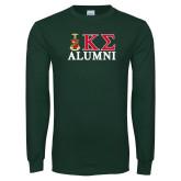 Dark Green Long Sleeve T Shirt-Alumni Greek Letters Stacked