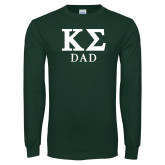 Dark Green Long Sleeve T Shirt-Dad Greek Letters Stacked