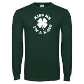 Dark Green Long Sleeve T Shirt-Kiss Me Im A K-Sig