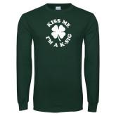 Dark Green Long Sleeve T Shirt-Kiss Me Im A K-Sig