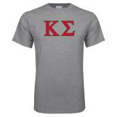 Grey T Shirt-Kappa Sigma - Greek Letters - 2 Color