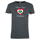 Ladies Dark Heather T Shirt-Kappa Sigma Sweetheart