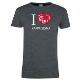 Ladies Dark Heather T Shirt-I Heart Kappa Sigma