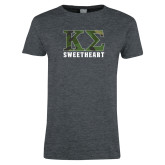 Ladies Dark Heather T Shirt-Camo Greek Letters Sweetheart