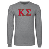 Grey Long Sleeve T Shirt-Kappa Sigma - Greek Letters - 2 Color