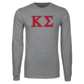Grey Long Sleeve T Shirt-Kappa Sigma - Greek Letters - 2 Color