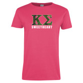 Ladies Fuchsia T Shirt-Camo Greek Letters Sweetheart