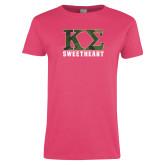 Ladies Fuchsia T Shirt-Camo Greek Letters Sweetheart