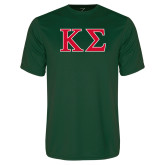 Performance Dark Green Tee-Kappa Sigma - Greek Letters - 2 Color