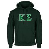Dark Green Fleece Hood-Kappa Sigma - Greek Letters - 2 Color