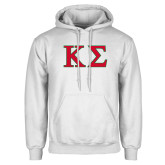 White Fleece Hoodie-Kappa Sigma - Greek Letters - 2 Color
