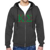 Charcoal Fleece Full Zip Hood-Kappa Sigma - Greek Letters - 2 Color