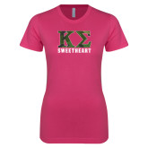 Ladies SoftStyle Junior Fitted Fuchsia Tee-Camo Greek Letters Sweetheart