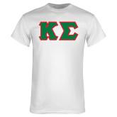 White T Shirt-Kappa Sigma - Greek Letters Tackle Twill