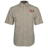 Khaki Short Sleeve Performance Fishing Shirt-Kappa Sigma - Greek Letters - 2 Color