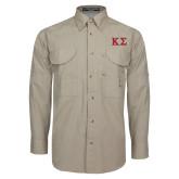 Khaki Long Sleeve Performance Fishing Shirt-Kappa Sigma - Greek Letters - 2 Color