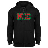 Black Fleece Full Zip Hoodie-Kappa Sigma - Greek Letters Tackle Twill