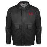 Black Leather Bomber Jacket-Kappa Sigma - Greek Letters