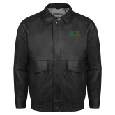 Black Leather Bomber Jacket-Kappa Sigma - Greek Letters - 2 Color