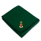 Dark Green Arctic Fleece Blanket-Crest