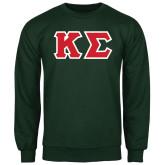 Dark Green Fleece Crew-Kappa Sigma - Greek Letters Tackle Twill