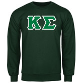 Dark Green Fleece Crew-Kappa Sigma - Greek Letters Tackle Twill