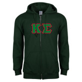 Dark Green Fleece Full Zip Hood-Kappa Sigma - Greek Letters Tackle Twill