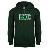 Dark Green Fleece Full Zip Hoodie-Kappa Sigma - Greek Letters Tackle Twill