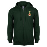 Dark Green Fleece Full Zip Hoodie-Crest