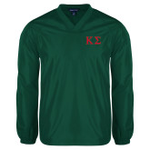 V Neck Dark Green Raglan Windshirt-Kappa Sigma - Greek Letters - 2 Color
