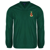 V Neck Dark Green Raglan Windshirt-Crest