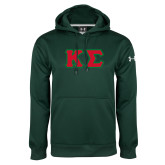 Under Armour Dark Green Performance Sweats Team Hoodie-Kappa Sigma - Greek Letters Tackle Twill