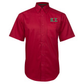 Red Twill Button Down Short Sleeve-Kappa Sigma - Greek Letters - 2 Color
