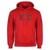 Red Fleece Hoodie-Kappa Sigma - Greek Letters Tackle Twill